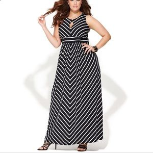 INC International Concepts Navy Chevron Maxi Dress
